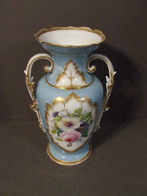 Antique Victorian  White And Blue Hand Painted Floral Handled Porcelain Urn Vase