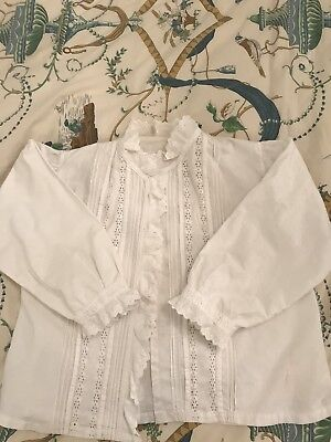 Antique 1880 Victorian Top Bedjacket Hand Embroidered White Cotton