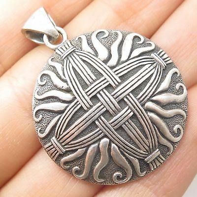 Signed 925 Sterling Silver Ancient Knot Symbol Large Round Pendant