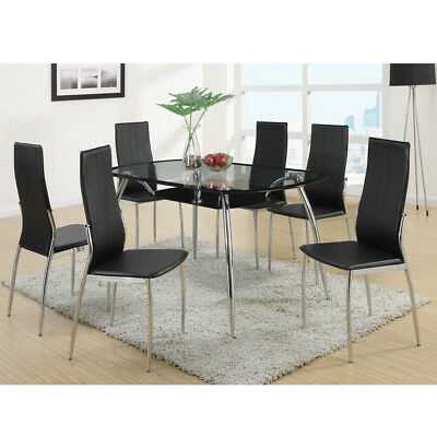 Modern 7 Pcs Dining Set Rectangular Glass Table Top Metal Base Black PU  Chairs