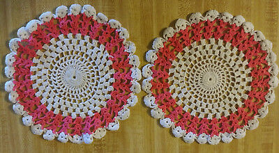 Vintage Doilies Hand made~Set of Two ~Bright Pink and White~