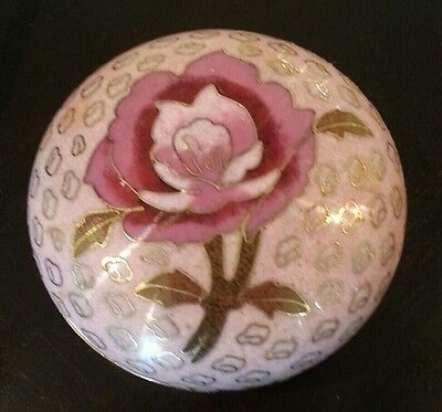 Fine Old Chinese Pink Cloisonne Enamel Round Lidded Box Art Rose Jewelry NR