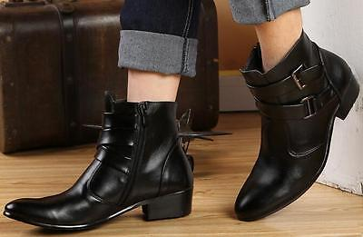 Chelsea boots Men's PU/Suede Knight Boots Punk Buckles Cuban heel Coser Shoes