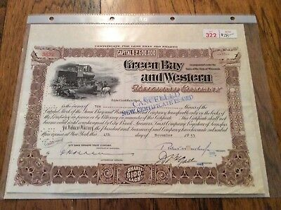 Green Bay And Western Railroad Company Stock Certificate