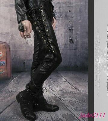 choose original luxury discount coupon NEW MENS SKINNY Causal Lace Up Motorcycle Biker Faux Leather Long Pants  Trousers