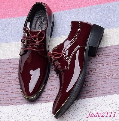 620ca326dc90 Patent Leather Mens Lace Up Oxford Cuban Heels Dress Bridal Formal British  Shoes