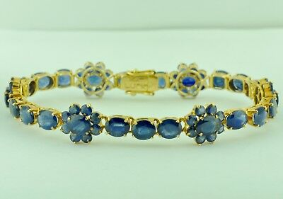 14k Solid Yellow Gold  Natural  Sapphire Tennis Bracelet Antique Vintage