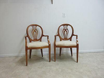 Pair Henredon French Pierce Carved Balloon Back Dining Room Arm Chairs C