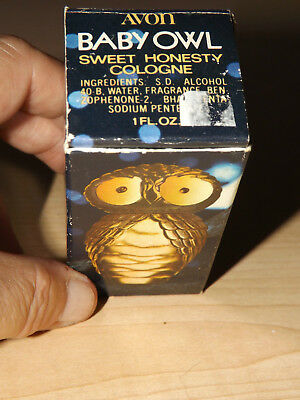 Baby Owl Sweet Honesty cologne crystal clear gold top full Avon decanter bottle
