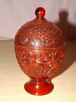 Cranberry raspberry ruby red lidded fruit floral Avon candy trinket dish