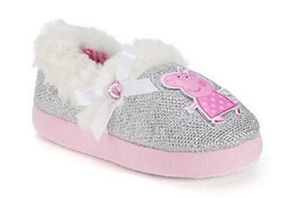 NEW Peppa Pig Toddler Girls Silver and Pink Slip On Slippers - Size M (7-8)