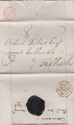 1795 Good Strike Of Aberdeen Cancel On Letter To Forbes At Callander Falkirk