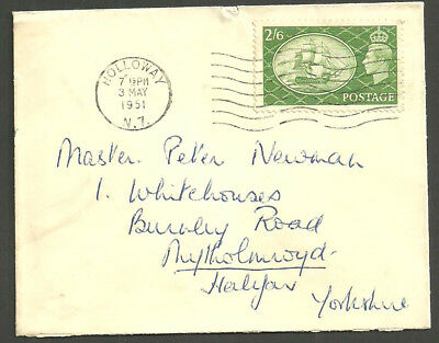 George Vi 2/6D Victory Holloway 3 May 1951 Machine First Day Of Issue