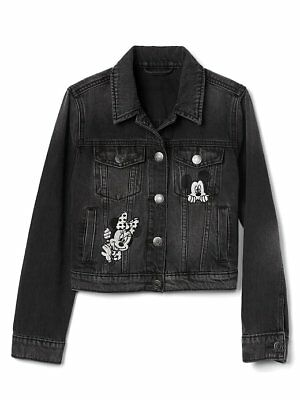 Gap Kids NWT Disney Mickey Minnie Mouse Black Denim Jean Jacket XS S M L XL XXL
