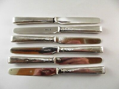 Set Of Six Antique Silver Butter Knives Sheffield 1925 Ref 88/1