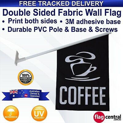 COFFEE Black Deluxe Fabric Wall Flag Banner 60x40cm *Outdoor *Free Delivery