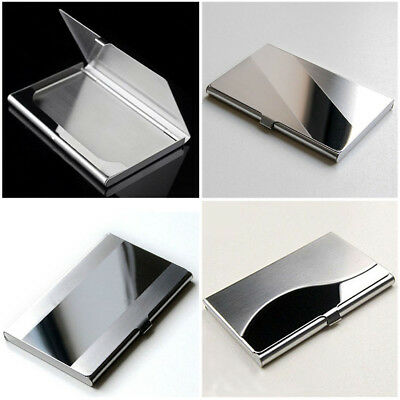Pocket stainless steel metal business card holder case id credit wallet business stainless steel name credit id card holder pocket case silver reheart Gallery