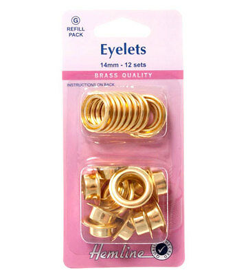Hemline Eyelet Re-fill Pack size 14mm / 12 Sets in pack / Rust Proof Brass