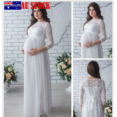 Women Lace Up Maternity Pregnant Maxi Dress Evening Party Gown Photography Props
