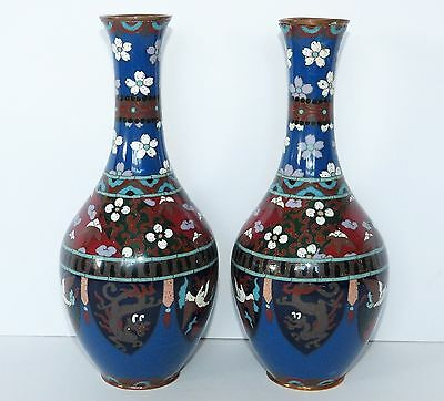 "PAIR Antique JAPANESE Enamel CLOISONNE Opposing 9.5"" VASES Floral DRAGON Phoenix"