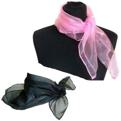 Women Plain Square Chiffon Feel Neck Scarf fancy dress Grease 20s 30s 40s 50s