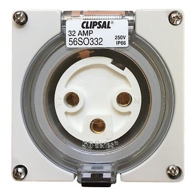 Clipsal 56SO332 3 phase round pin outdoor waterproof electrical plug socket  New