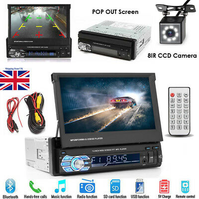 "Car Stereo Audio Single 1 DIN Bluetooth 7"" Touch MP3 Player USB FM Radio+ Camera"