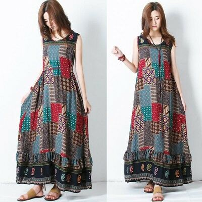 ZANZEA Women Plus Summer Party Long Maxi Dress Sleeveless Sundress Tank Dress