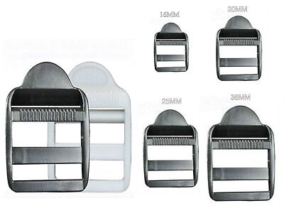 Plastic Ladder Lock Buckles, Black/white For 16 To 38Mm Strap Webbing, Ref: Pll