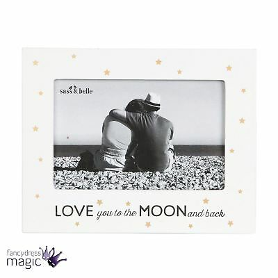 Sass & And Belle Love You To The Moon Back Photo Frame Picture Golden Stars Gift