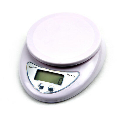 Digital Kitchen Scale 1g-5kg Diet Food Compact Scale 0.1 - 176 oz White