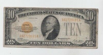 Gold Certificate 1928 $10 vg-fine stains
