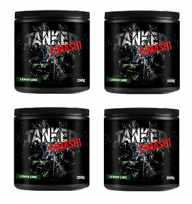 Tanked Smash Pre Workout 50 Servs Nitric Oxide Muscle Pump x 4 Tubs Blue Razz