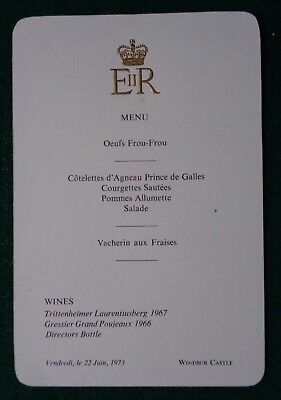 Antique Royal French Lunch Menu used by Queen Elizabeth II 22 June 1973 ERII