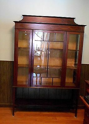 "VTG/ Antique Curio Cabinet Mahogany 65"" Tall 45"" Wide Shelves Glass Door"