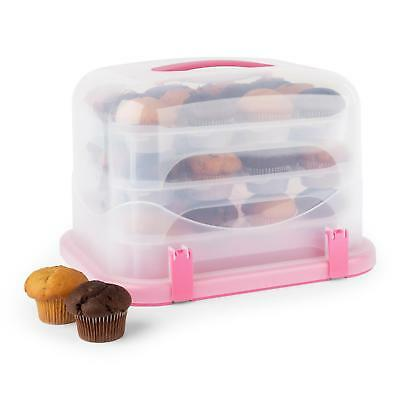 Xl Cake Box Cupcake Carrier Container 36 Pieces Pink Stack 3 Tier Pink Plastic