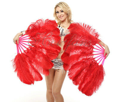 Red single layer Ostrich Feather Fans ( set 2 fans ) with Travel leather Bag