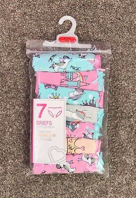 New 7 Pairs Girls Unicorn Magic Briefs Pants Knickers Ages 2 - 10 Years Primark
