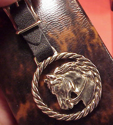 "Vintage 1 1/2"" Heart Stallion Show Horse Rodeo Pocket Watch Fob Key chain Gift"
