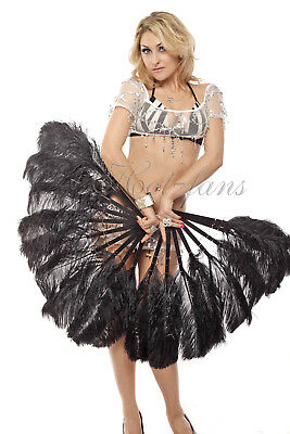 Black single layer Ostrich Feather Fans ( set 2 fans ) with Travel leather Bag