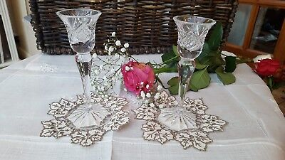 """Pair of waterford glass candlesticks 6""""high"""