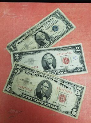 Paper Money Estate Lot $1 Blue Seal $2 and $5 Red Seal - Collection of Old Bills