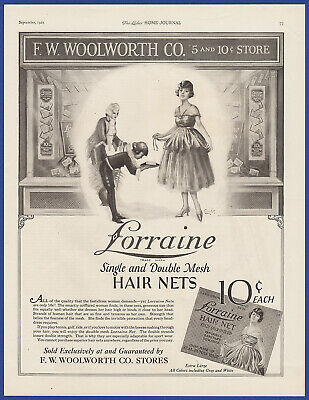 Vintage 1921 LORRAINE Mesh Hair Nets F.W. WOOLWORTH CO. Store Print Ad 1920's