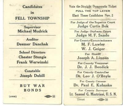 Fell Township Pa. political candidates Lackawanna County politics Buy War Bonds