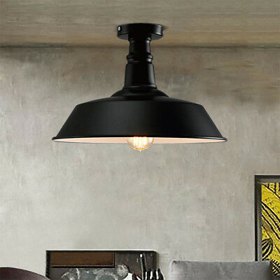 "14"" Vintage Industrial Wrought Iron Semi Flush Mount Ceiling Light Lamp Fixture"