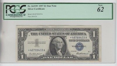 Silver Certificate $1 1957 STAR PCGS Graded  New 62 minor stain