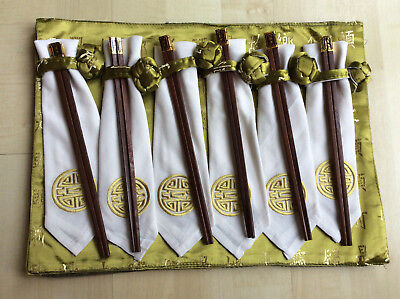 Set of 6 Chinese placemats, napkins and chopsticks
