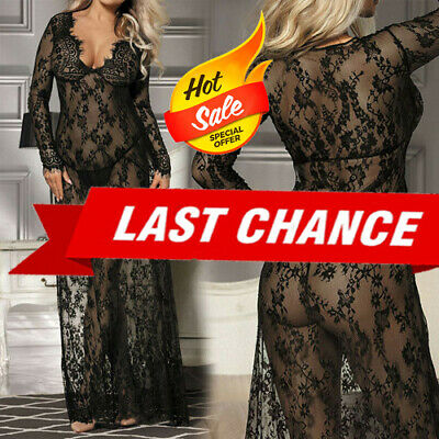 Black Sheer Floral Rose Lace Long Maxi Gown Dress Nightie Lingerie Babydoll M-3X