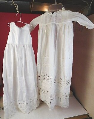 VINTAGE CHRISTENING BAPTISM GOWN LONG DRESS w SLIP