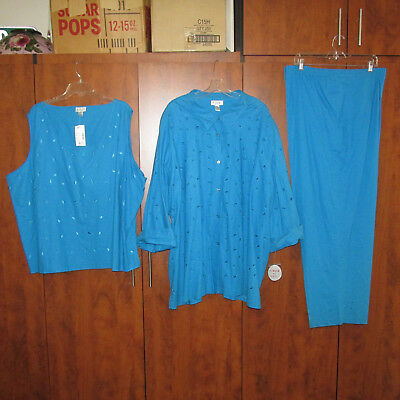 NWT I.S.C. Women Size 5X Turquoise Linen 3-Piece Top, Pants, Over-Shirt, PRETTY!